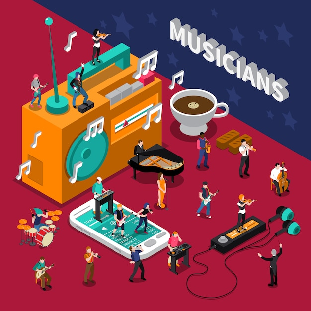 Musicians people isometric composition Free Vector