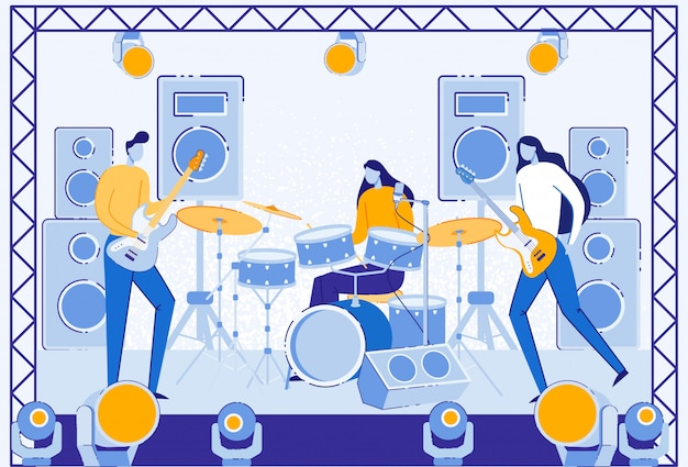 Musicians performing on stage with light, speaker. Premium Vector