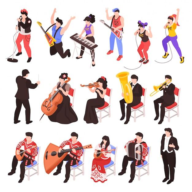록 밴드 첼로 트럼펫 클래식 재즈 앙상블 세트 악기 아이소 메트릭 문자를 연주 음악가 무료 벡터