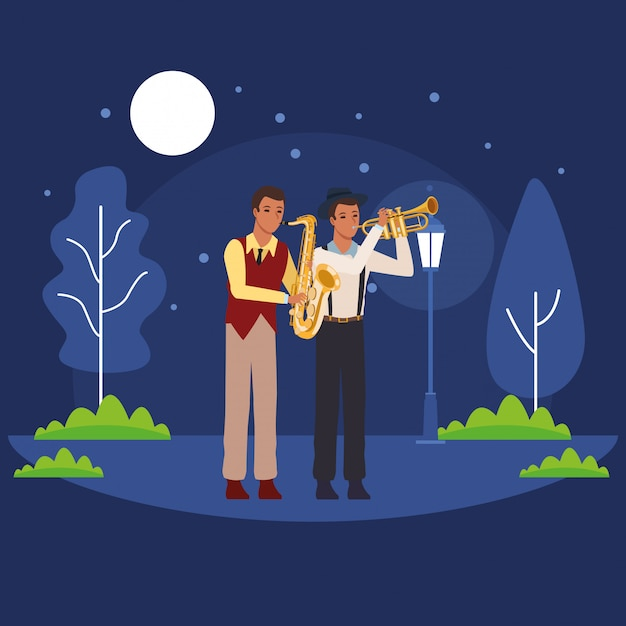 Musicians playing saxophone and trumpet Premium Vector