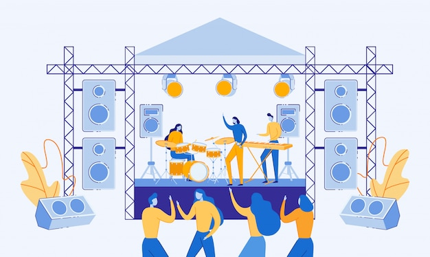 Musicians playing and singing on outdoor stage. Premium Vector