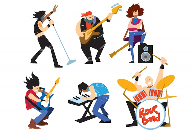 Musicians rock group isolated on white background. Premium Vector