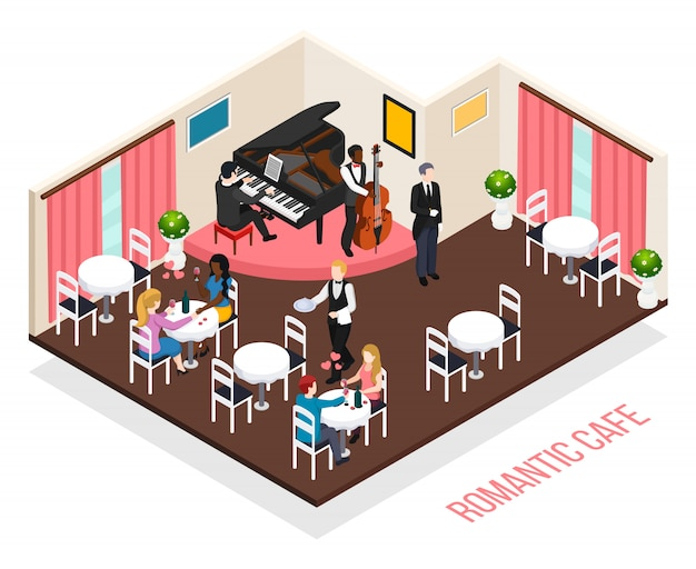 Musicians of romantic cafe pianist performer on contrabass and customers at tables isometric composition Free Vector