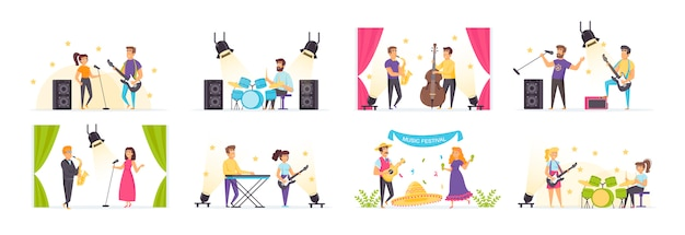 Musicians set with people characters in various scenes and situations. Premium Vector