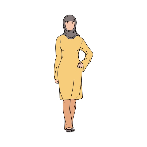 Muslim or arabian woman with the hijab sketch vector illustration isolated. Premium Vector