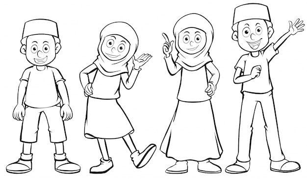 Muslim boy and girl with happy face vector free download muslim boy and girl with happy face free vector voltagebd Choice Image