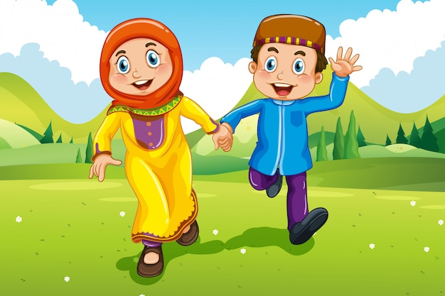 Muslim boy and girl holding hands Free Vector