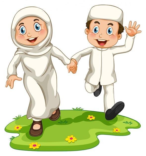Muslim boy and girl Free Vector