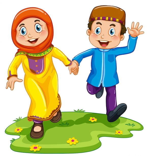 Muslim boy and girl Free Vector