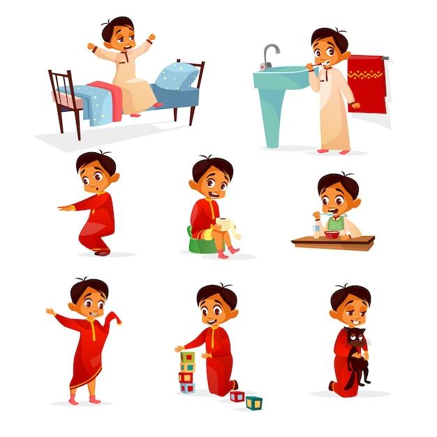 Muslim boy kid daily routine cartoon illustration Free Vector