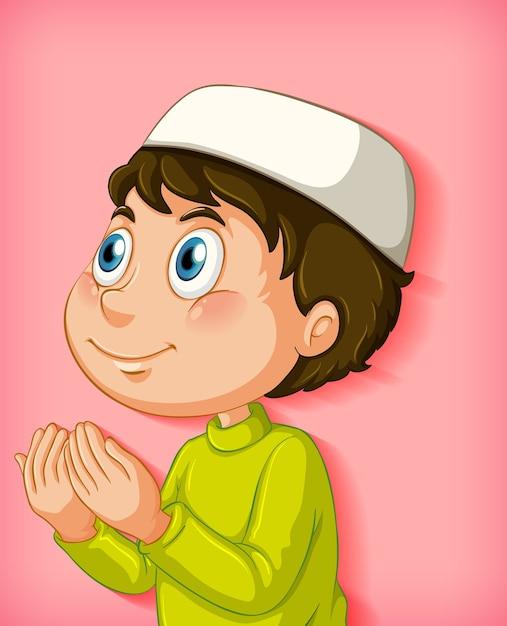色のグラデーションの背景に祈るイスラム教徒の少年 無料ベクター