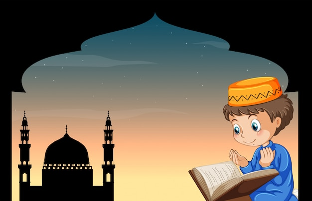 Muslim boy praying with mosque Free Vector