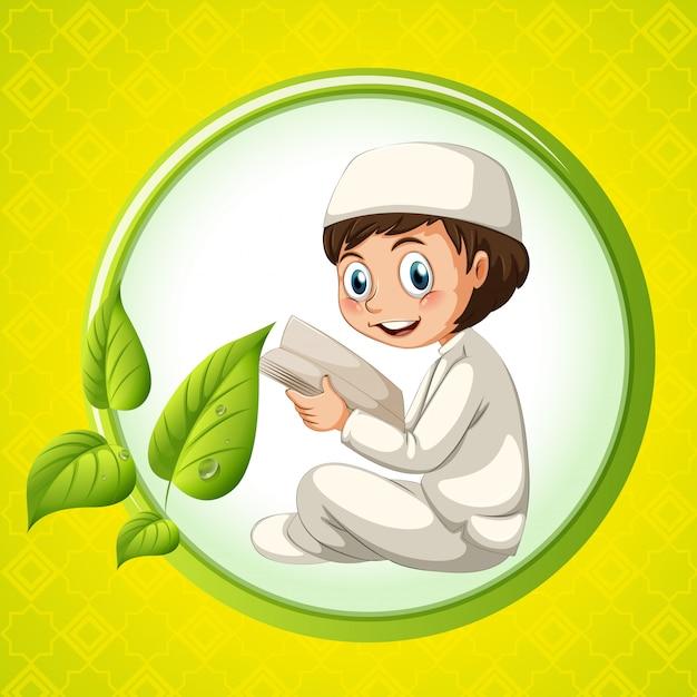 Muslim boy reading bible Free Vector