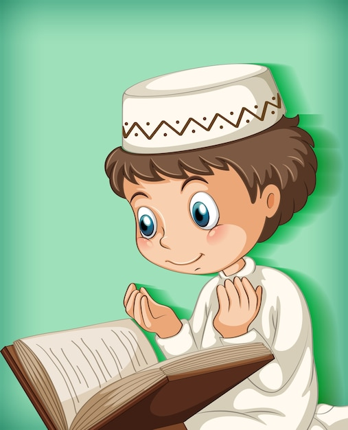 コーランから読んでいるイスラム教徒の少年 無料ベクター
