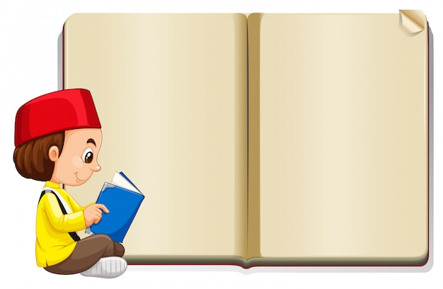 Muslim boy reading with book Free Vector