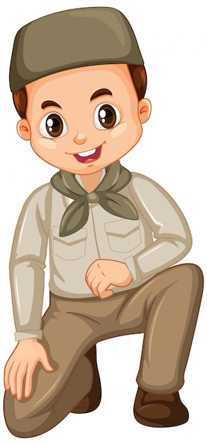 Muslim boy in safari outfit isolated Free Vector