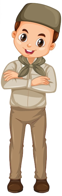 Muslim boy in safari outfit on isolated Free Vector