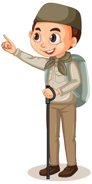 Muslim boy in safari outfit Free Vector