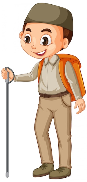 Muslim boy with hiking stick Free Vector