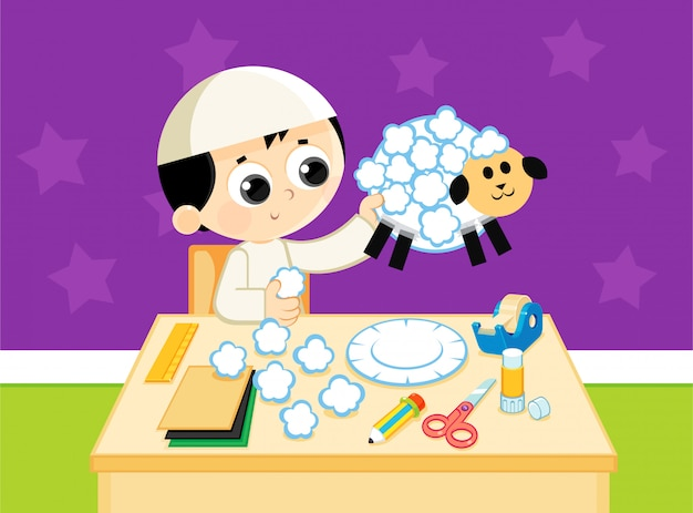 Muslim child makes a handcrafted sheep from colored papers Premium Vector