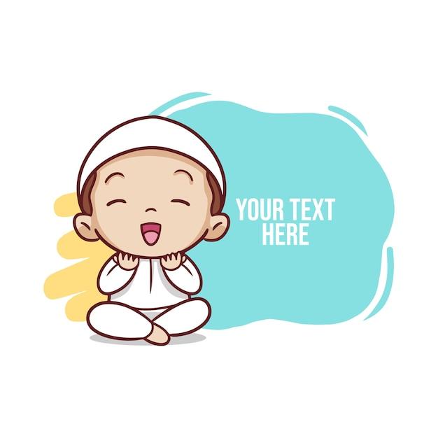 Мусульманский ребенок молится иллюстрации Premium векторы