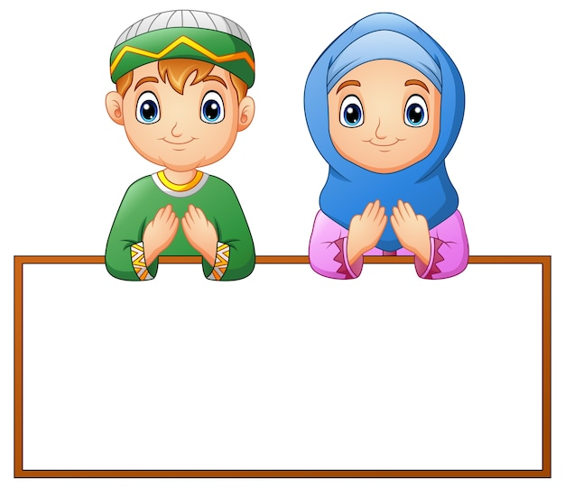 Muslim couple kid praying with blank sign Premium Vector
