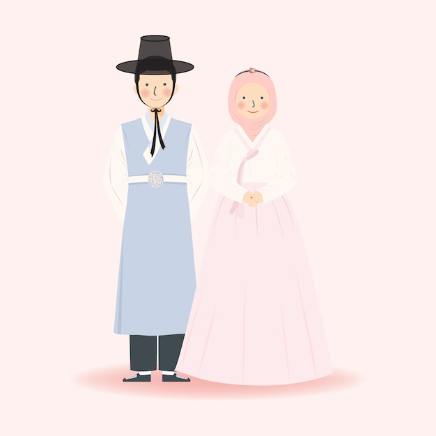 韓国の伝統的な韓服のイスラム教徒のかわいいカップルイラスト 結婚式の服 シンプルなミニマリストのエレガントなロイヤルかわいいフォーマルドレスの服装のイスラム教徒のカップルのイラスト プレミアムベクター