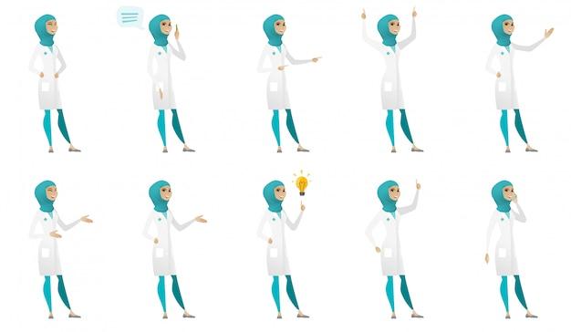 Muslim doctor set Premium Vector