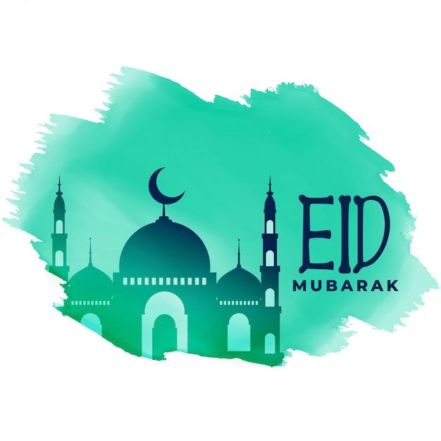 Muslim eid festival lovely greeting design vector illustration Free Vector