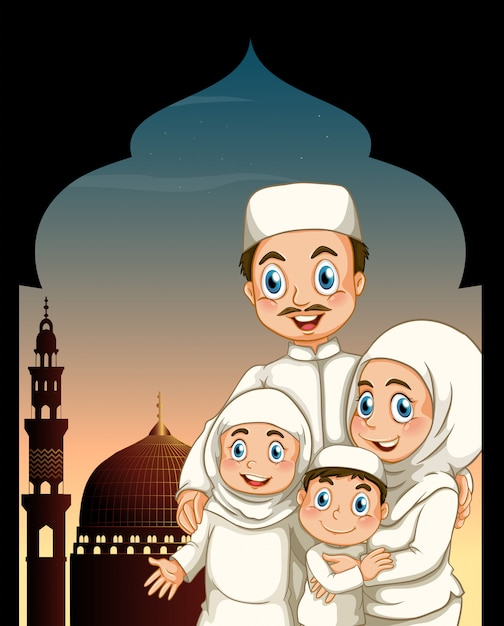 Muslim family by the mosque Free Vector