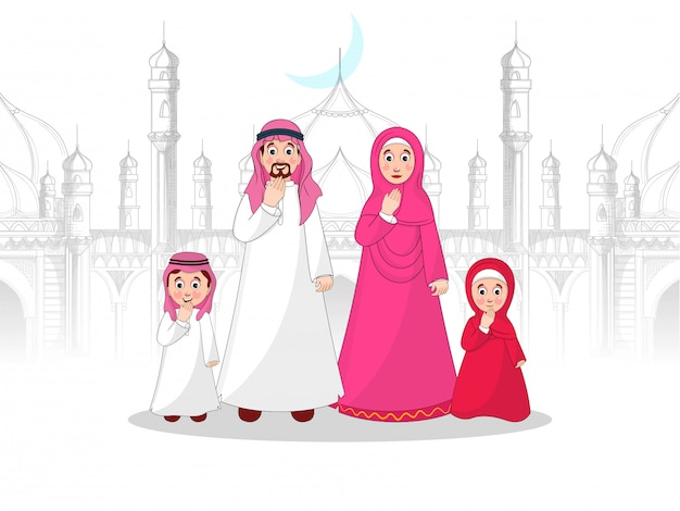 Muslim family character in front of mosque in sketching style. Premium Vector