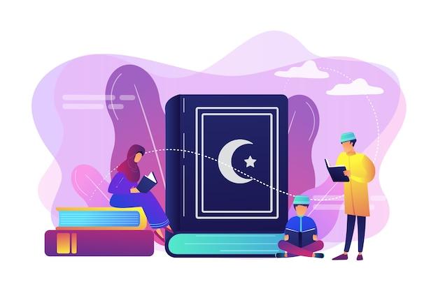 Мусульманская семья в традиционной одежде, читая священную книгу коран, крошечные люди. пять столпов ислама, исламский календарь, концепция исламской культуры. Бесплатные векторы