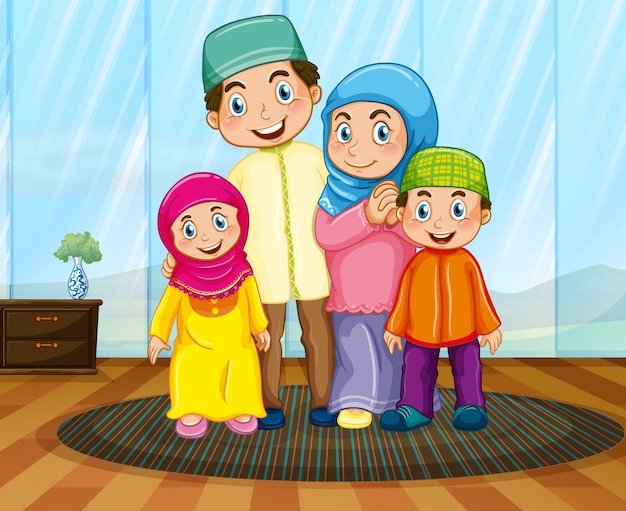 Muslim family in the living room Free Vector