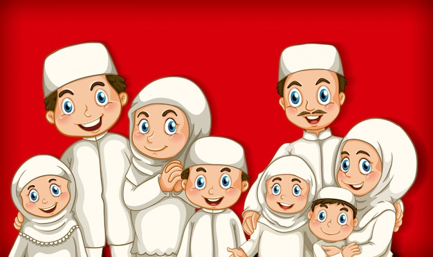 Muslim family member on cartoon character colour gradient background Free Vector