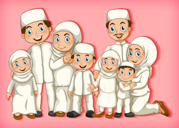 Membro della famiglia musulmana su sfondo sfumato di colore personaggio dei cartoni animati Vettore gratuito