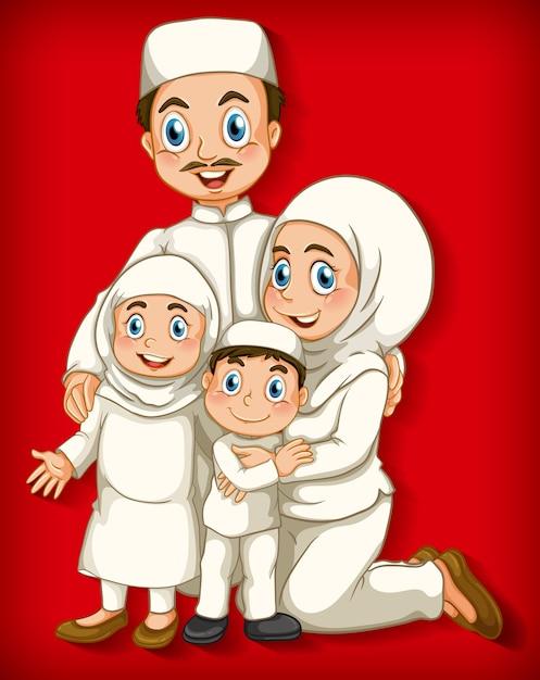 Membro della famiglia musulmana sul personaggio dei cartoni animati Vettore gratuito