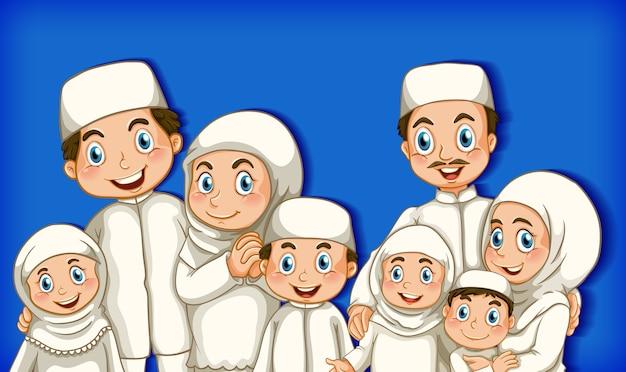 Free Vector Muslim Family Member On Cartoon Character