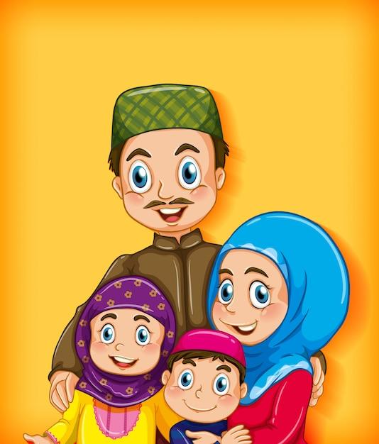 漫画のキャラクターの色のグラデーションの背景にイスラム教徒の家族 Premiumベクター