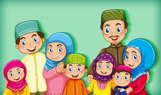 Член мусульманской семьи на цветном градиентном фоне мультяшного персонажа Бесплатные векторы