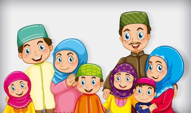 漫画のキャラクターの色のグラデーションの背景にイスラム教徒の家族 無料ベクター