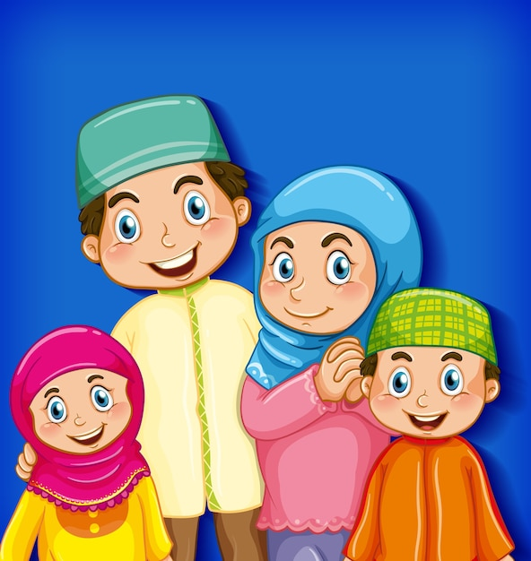 イスラム教徒の家族の漫画のキャラクター 無料ベクター
