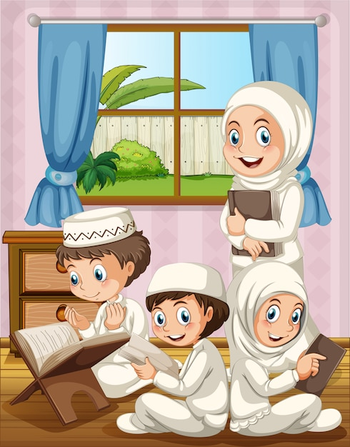 Muslim family praying in the house Free Vector