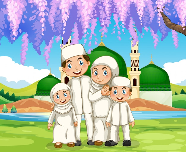 Muslim family standing in the park Free Vector