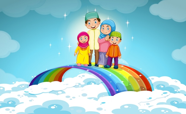Muslim family standing on the rainbow Free Vector