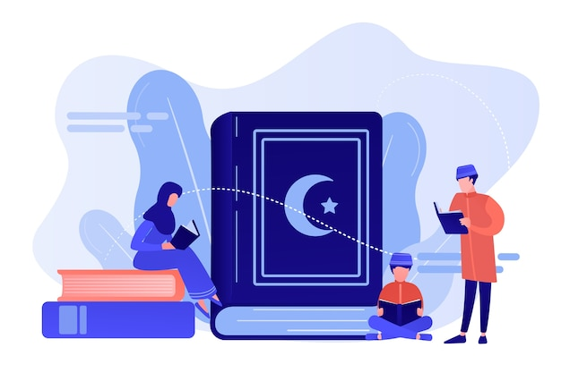 Muslim family in traditional clothes reading holy book quran, tiny people. five pillars of islam, islamic calendar, islamic culture concept. pinkish coral bluevector isolated illustration Free Vector