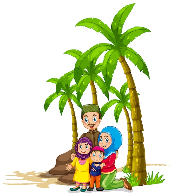 Muslim family under the tree Free Vector
