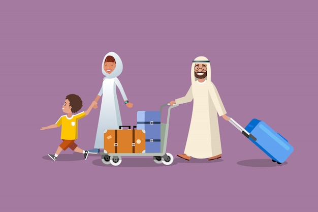 Muslim family vacation trip cartoon vector concept Premium Vector