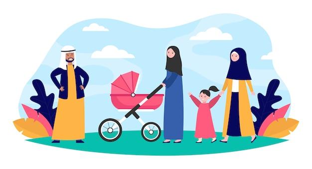 公園を歩いてイスラム教徒の家族 無料ベクター