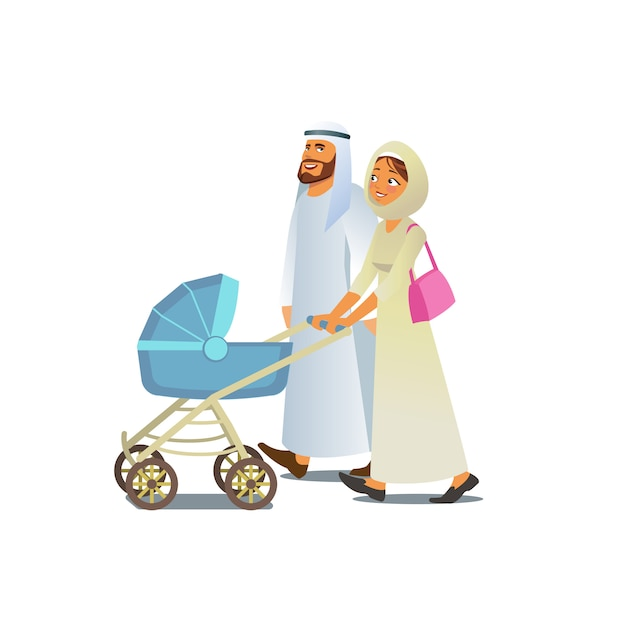 Muslim family walking with baby carriage vector Premium Vector