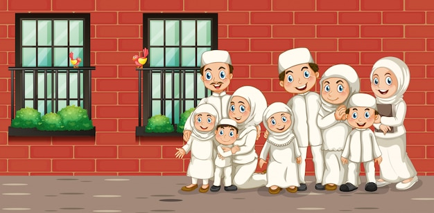 Muslim family in white costume Free Vector